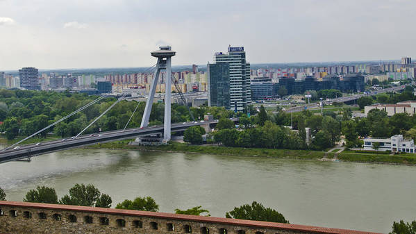 Bratislava Castle Poster featuring the photograph Novy Most Bridge - Bratislava by Jon Berghoff
