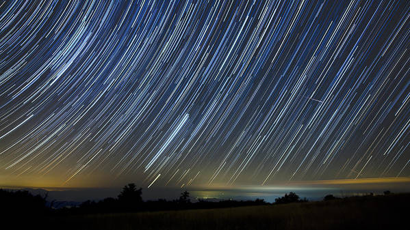 Startrails Poster featuring the photograph Perseid Smoky Mountain Startrails by Daniel Lowe
