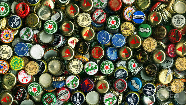 Long Poster featuring the photograph Pile Of Beer Bottle Caps . 9 To 16 Proportion by Wingsdomain Art and Photography