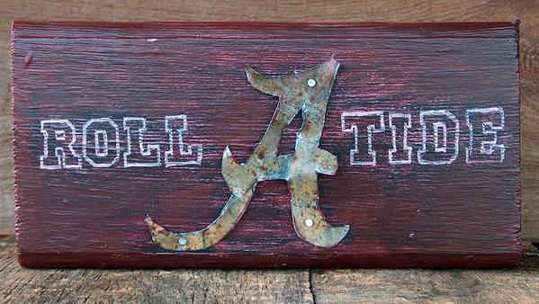 Roll Tide Poster featuring the mixed media Roll Tide - Medium by Racquel Morgan