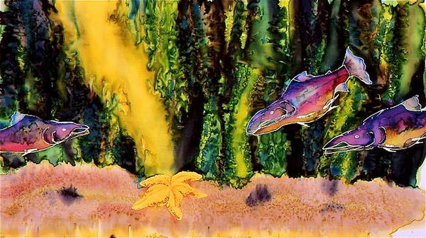 Fish Poster featuring the tapestry - textile Star Fish by Carolyn Doe