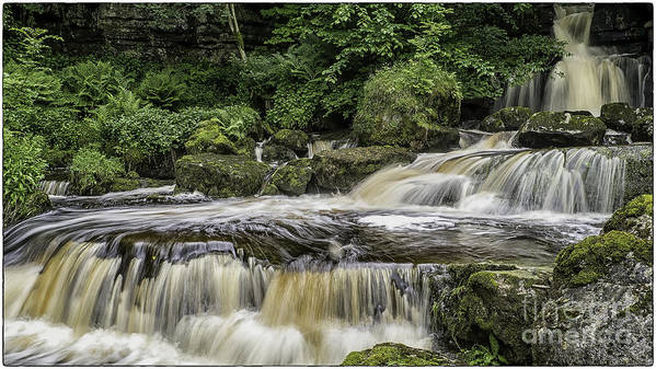 Landscape Poster featuring the photograph Thwaite Waterfall Yorkshire Dales Uk by George Hodlin