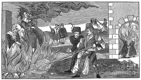 1555 Poster featuring the photograph Witch Burning, 1555 by Granger