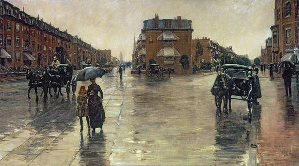 A Rainy Day In Boston (oil On Canvas) By Childe Hassam (1859-1935) :rain; Umbrella; Impressionist; America; Massachusetts; Raining; The Ten Group; Grey; Gray; Weather Poster featuring the painting A Rainy Day In Boston by Childe Hassam