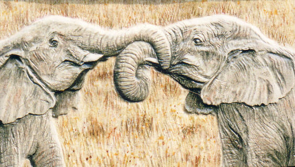 Elephants Poster featuring the relief Elefriends by Dy Witt