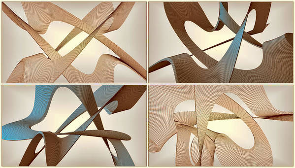 3d Poster featuring the digital art F S - Foursome Shapeallization by Nenad Cerovic