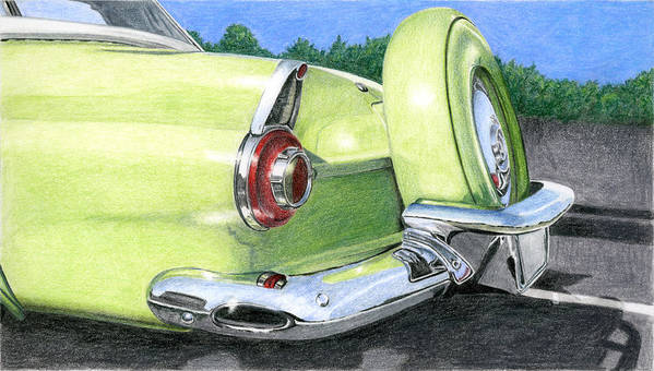 Classic Poster featuring the drawing 1956 Ford Thunderbird by Rob De Vries