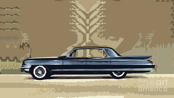 An Artist's Impression Of The 1961 Cadillac Fleetwood Sixty-special. The Sixty Special Name Has Been Used At Cadillac To Denote A Special Model Since The 1938 Bill Mitchell-designed Series 60 Derivative. Although The 1938 Model Began In Cadillac's Lowest Price Range Poster featuring the digital art 1961 Cadillac Fleetwood Sixty-special by Bruce Stanfield