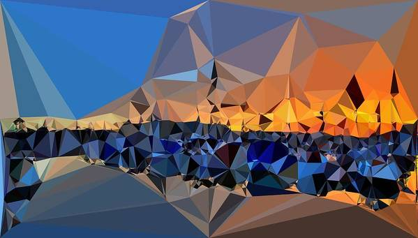 Abstract Art Poster featuring the digital art Abstract Art Landscape Of Triangles by Elena Kosvincheva