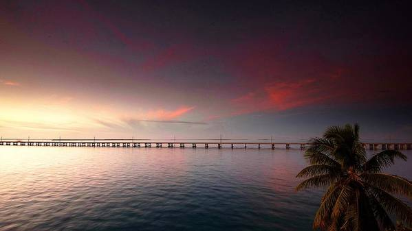 The Famous 7 Mile Bridge In The Florida Keys Connecting Big Pine Key And Marathon Key. Poster featuring the photograph 7 Mile Bridge Sunset by Mark Reinnoldt