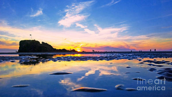 Calm Poster featuring the photograph Beach Skyset Sunset On A Perranporth Beach Cornwall by Sebastien Coell