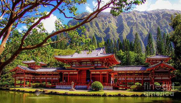 Buddhist Poster featuring the photograph Buddhist Temple - Oahu, Hawaii - by D Davila