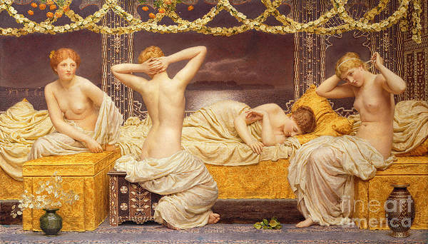 Female; Woman; Nude; See; Classical; A Summer Night Poster featuring the painting A Summer Night by Albert Joseph Moore