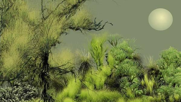 Digital Fantasy Painting Poster featuring the digital art Alien Garden 2 by David Lane