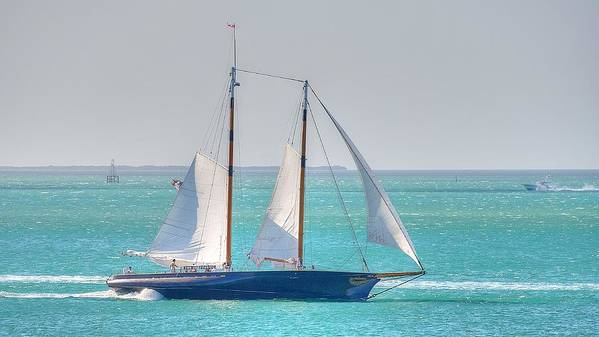 America 2.0 Sailboat In Key West Florida. She Is Modeled After One Of The Most Famous Maritime Icons Of All Time Poster featuring the photograph America 2.0 by Mark Reinnoldt