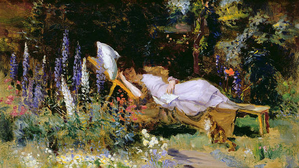 Afternoon Poster featuring the painting An Afternoon Nap by Harry Mitten Wilson