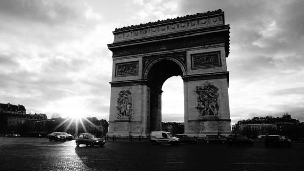 Europe Poster featuring the photograph Arc De Triomphe Sunset Paris, France by Lawrence S Richardson Jr
