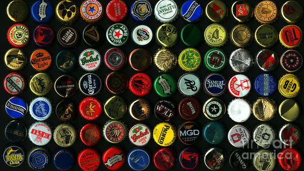 Kitsch Poster featuring the photograph Beer Bottle Caps . 9 To 16 Proportion by Wingsdomain Art and Photography