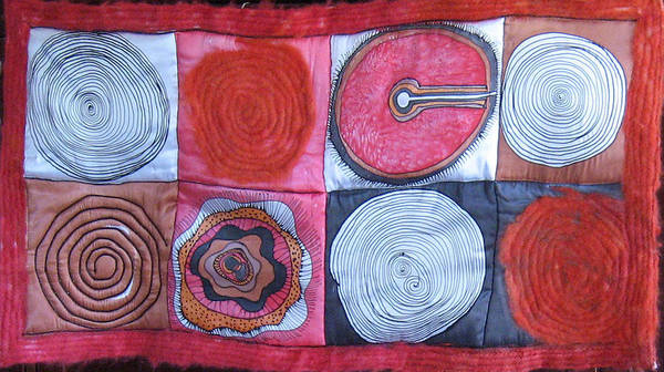 Abstract Poster featuring the tapestry - textile Beginning Of Life by Aliza Souleyeva-Alexander