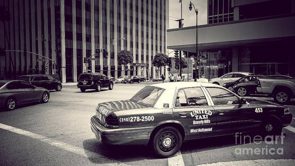 Cities Poster featuring the photograph Beverly Hills - Taxi - Wilshire Boulevard Intersection by Pete Edmunds