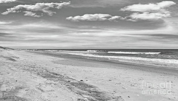North Carolina Poster featuring the photograph Black And White Beach by Kelley Freel-Ebner