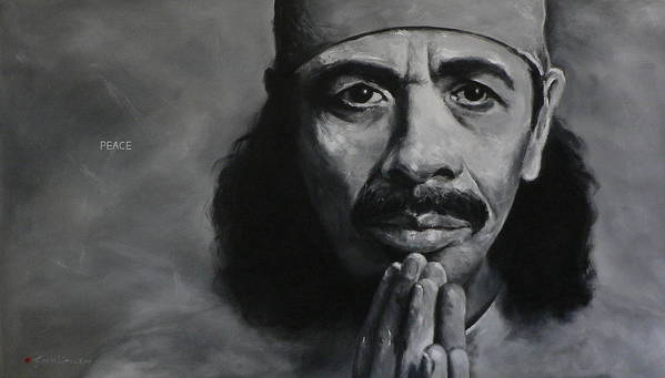 Figuritive Poster featuring the painting Carlos Santana - Peace by Eddie Lim