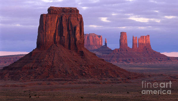 Monument Valley Poster featuring the photograph Dawn At Monument Valley by Sandra Bronstein