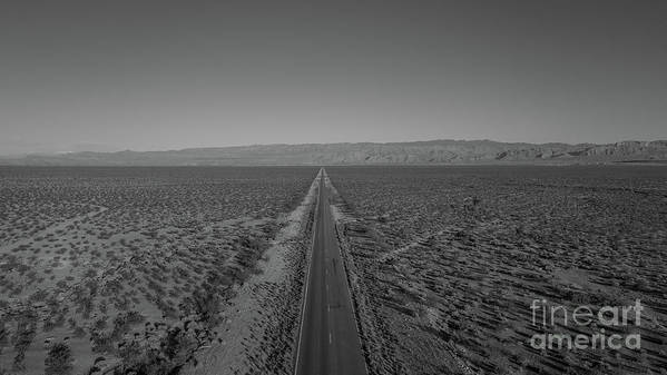 Endless Road Poster featuring the photograph Endless Road Aerial Bw by Michael Ver Sprill