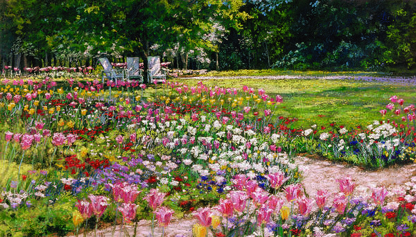 Garden Painting Poster featuring the painting Favorite Place by L Diane Johnson