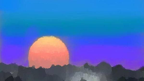 Evenung.sunset.sky.sun.background Forest.silence.rest Poster featuring the digital art Forest Sunset. by Dr Loifer Vladimir