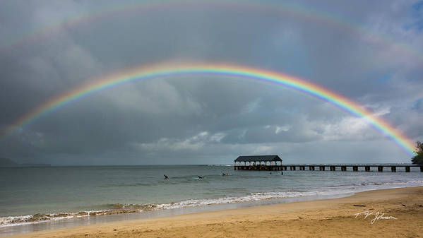 Hanalei Poster featuring the photograph Hanalei Bay Rainbow by Torrence Johnson