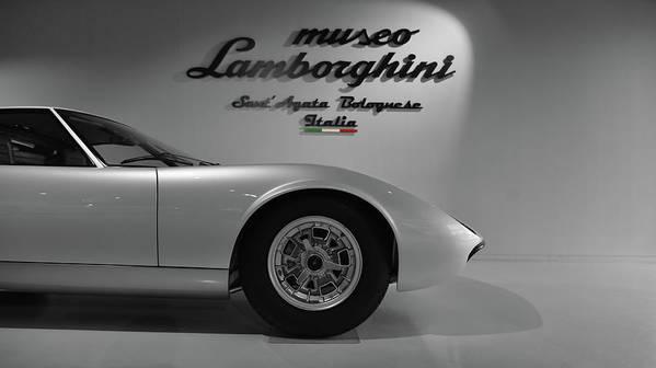 Lamborghini Miura At The Lamborghini Museum In Bw Poster By Brandon