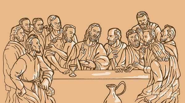 Last Supper Poster featuring the digital art last supper of Jesus Christ by Aloysius Patrimonio