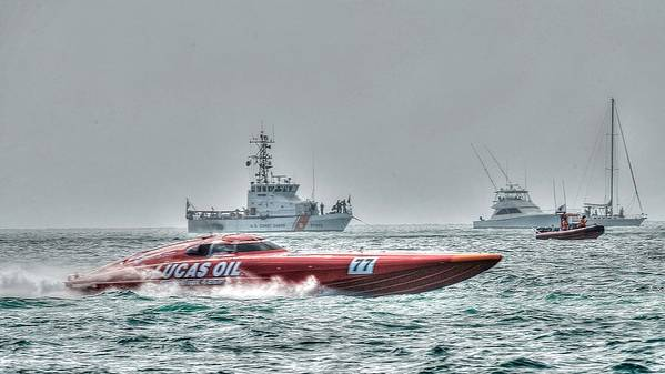 Key West Florida 2015 Superboat Offshore Powerboat Racing. This Is The Lucas Oil Racing Boat With Coast Guard And Pleasure Boats Watching The Races. Taken From Fort Zachary Taylor Shoreline. Poster featuring the photograph Lucas Oil Superboat Race by Mark Reinnoldt