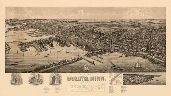 Map Of Duluth Poster featuring the photograph Map Of Duluth 1893 by Andrew Fare