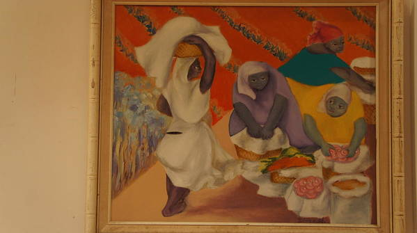 Figurative Poster featuring the painting Market Women by Margarita Zuniga