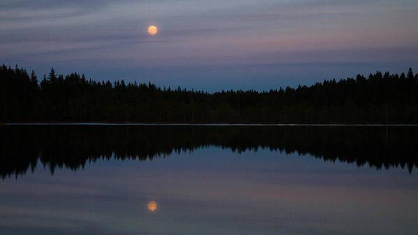 Lehtokukka Poster featuring the photograph Moon Over Kirkas-soljanen by Jouko Lehto