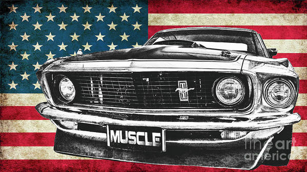 Mustang Poster featuring the photograph Muscle Us Mustang by Benjamin Dupont