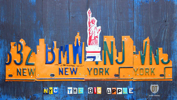New York Poster featuring the mixed media New York City Skyline License Plate Art by Design Turnpike