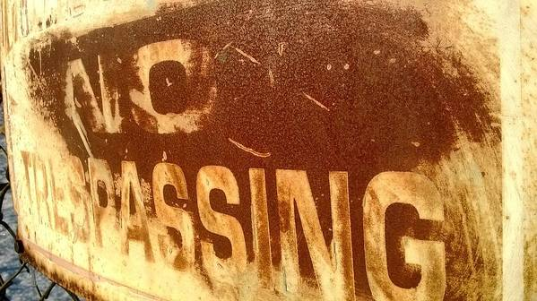 Sign Poster featuring the photograph No Trespassing by Wade Milne