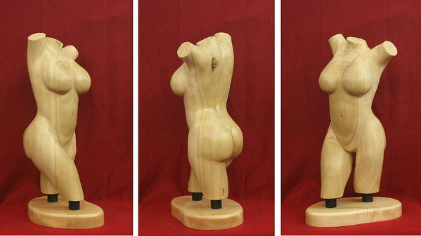 Nude Poster featuring the sculpture Nude Female Wood Torso Sculpture Roberta  by Mike Burton