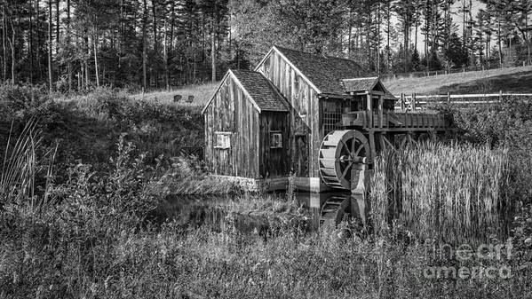 Vermont Poster featuring the photograph Old Grist Mill In Vermont Black And White by Edward Fielding