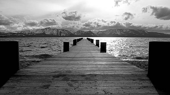 Mount Tallac Poster featuring the photograph Pier To Mount Tallac Lake Tahoe by Brad Scott