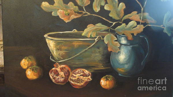 Blue Poster featuring the painting Reflection by Kathy Brusnighan