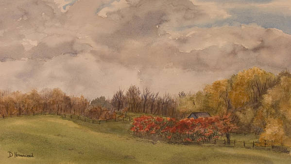 Fields Poster featuring the painting Rolling Fields In The Fall by Debbie Homewood