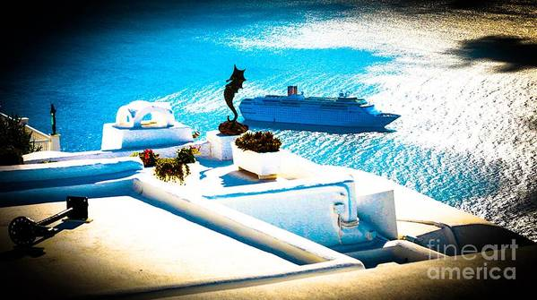 Boat Poster featuring the photograph Set Sail Santorini by K P Larrabee
