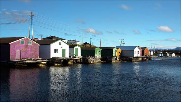 Gros Morne Poster featuring the photograph Shacks On The Bay by Linda Cullivan