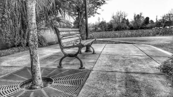 B&w Hdr Poster featuring the photograph Shoney's Bench by Noel Adams