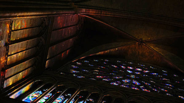 Europe Poster featuring the photograph Stained Glass Sunset Notre Dame Paris by Lawrence S Richardson Jr