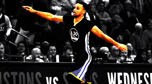 1ff467541b6 Stephen Curry Poster featuring the mixed media Stephen Curry Scores Again  by Brian Reaves